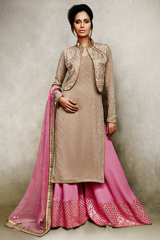 Buy Beige and Pink Jacket Style Suit with Palazzo Pants Online at indi.fashion