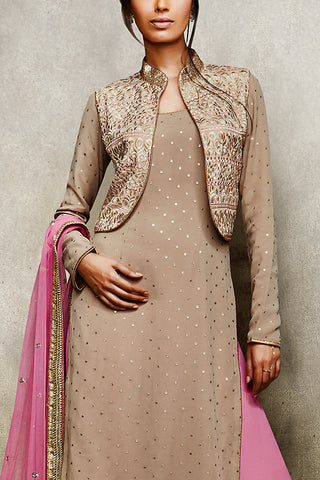 Indi Fashion Beige and Pink Jacket Style Suit with Palazzo Pants
