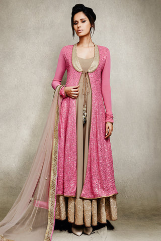 Buy Pink and Beige Jacket Style Anarkali Suit with Mirror Work Online at indi.fashion