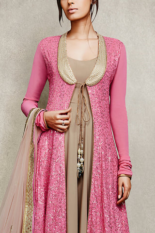 Indi Fashion Pink and Beige Jacket Style Anarkali Suit with Mirror Work