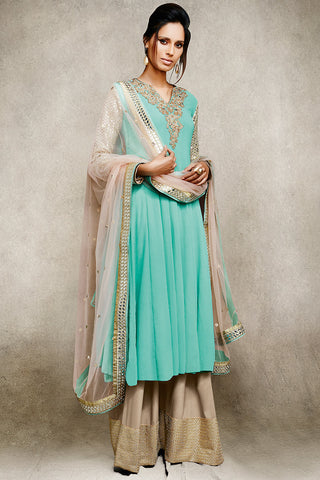 Buy Sky Blue and Beige Embellished With Mirror Work Suit Online at indi.fashion