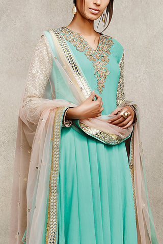 Indi Fashion Sky Blue and Beige Embellished With Mirror Work Suit