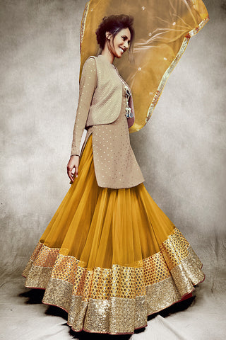 Buy Beige and Mustard Jacket Style Three Piece Lehenga Set Online at indi.fashion