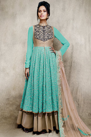 Buy Embroidered Sky Blue and Beige Lehenga Style Suit Online at indi.fashion