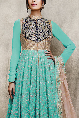 Indi Fashion Embroidered Sky Blue and Beige Lehenga Style Suit