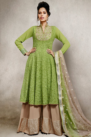 Buy Embroidered Green and Beige Palazzo Style Suit Online at indi.fashion