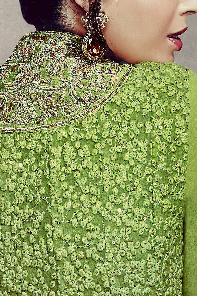 Indi Fashion Embroidered Green and Beige Palazzo Style Suit