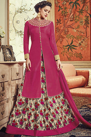 Indi Fashion Magenta and Cream Banarasi Silk Jacket Style Party Wear Suit