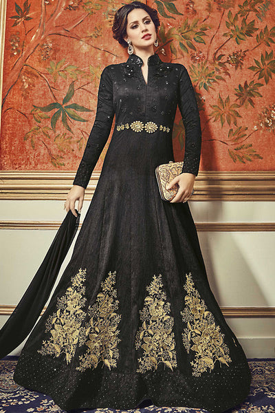 Buy Black and Gold Tussar Silk Floor Length Party Wear Suit Online at indi.fashion
