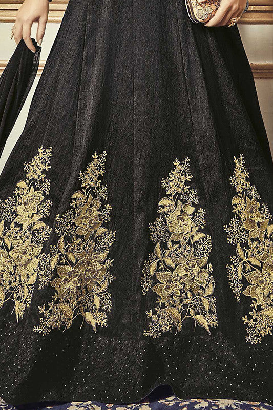 Indi Fashion Black and Gold Tussar Silk Floor Length Party Wear Suit