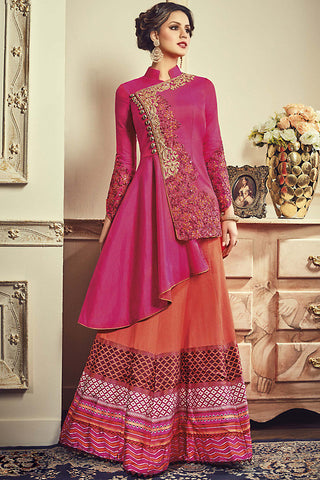 Indi Fashion Magenta and Orange Paper Silk Jacket Style Party Wear Suit