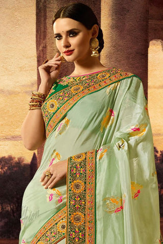 Indi Fashion Pastel and Bottle Green Banarasi Silk Saree