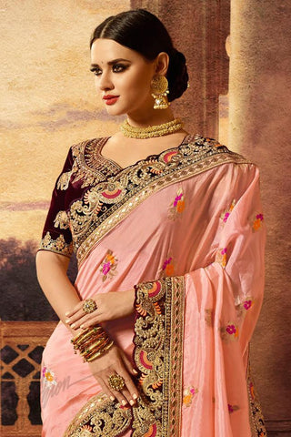 Indi Fashion Maroon and Soft Pink Banarasi Silk Saree