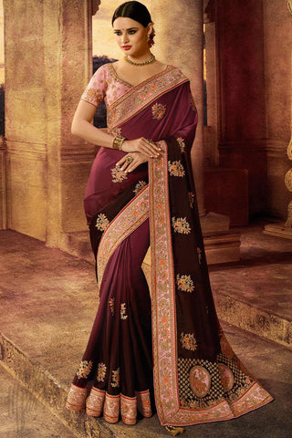 Indi Fashion Soft Pink and Wine Satin Silk Saree