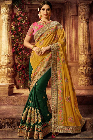 Indi Fashion Pink Mustard and Forest Green Silk Saree