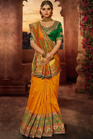 Indi Fashion Green and Mustard Yellow Banarasi Silk Saree