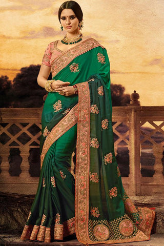 Indi Fashion Peach and Dual Tone Green Satin Silk Saree