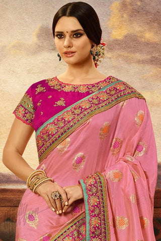 Indi Fashion Magenta and Onion Pink Banarasi Silk Saree