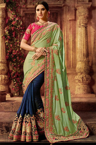 Indi Fashion Magenta Green and Blue Silk Saree