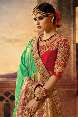Indi Fashion Red and Green Banarasi Silk Saree