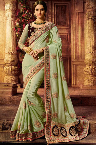 Indi Fashion Navy Blue and Pastel Green Satin Silk Saree