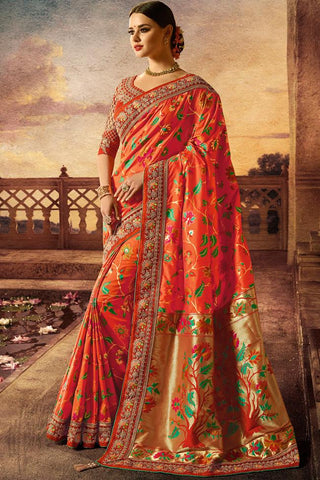 Indi Fashion Red and Orange Banarasi Silk Saree