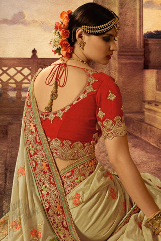 Indi Fashion Red and Light Olive Green Banarasi Silk Saree