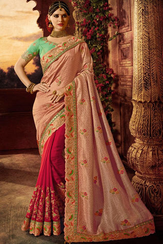 Indi Fashion Sea Green Peach and Magenta Silk Saree