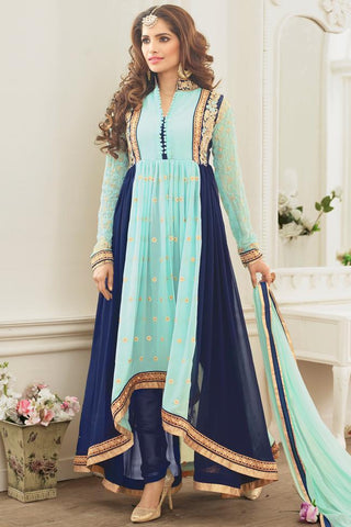 Indi Fashion Soft and Navy Blue Asymmetrical Georgette Party Wear Suit