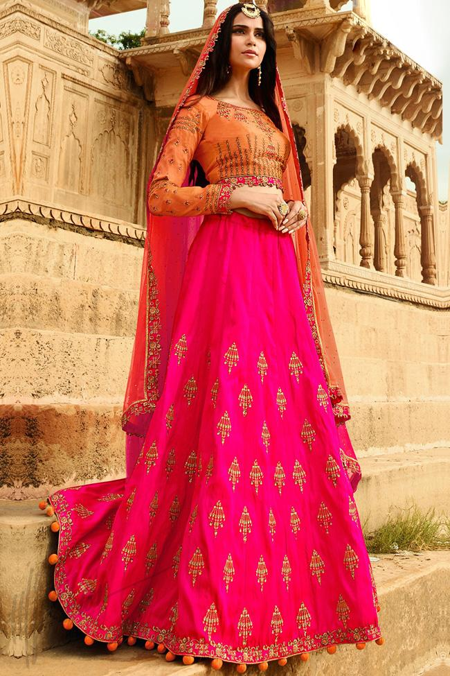 Indi Fashion Dark Peach and Rani Raw Silk Lehenga Choli Set