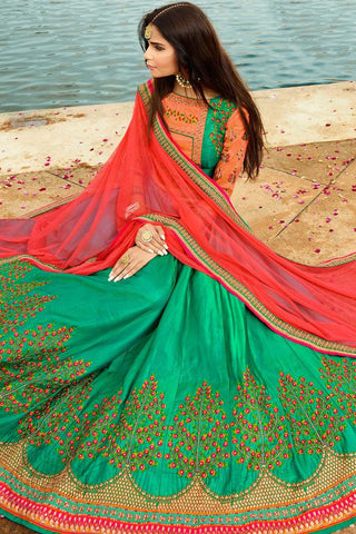 Indi Fashion Orange and Green Silk Lehenga Choli Set