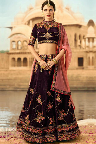 Indi Fashion Wine Velvet Lehenga Choli Set