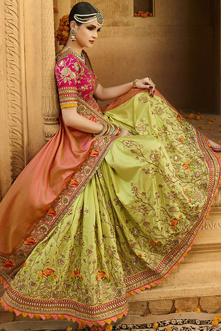 Indi Fashion Green Orange and Pink Silk Crepe Lehenga Style Saree