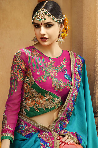 Indi Fashion Blue Orange and Magenta Silk Crepe Lehenga Style Saree