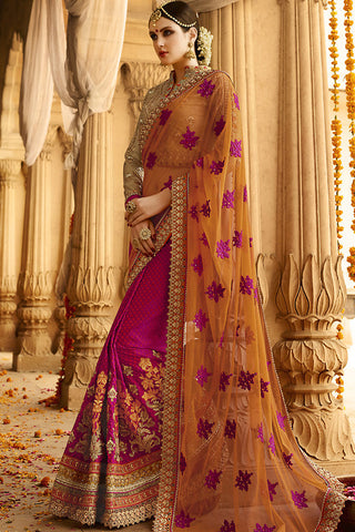 Indi Fashion Orange Magenta and Beige Silk Crepe Lehenga Style Saree