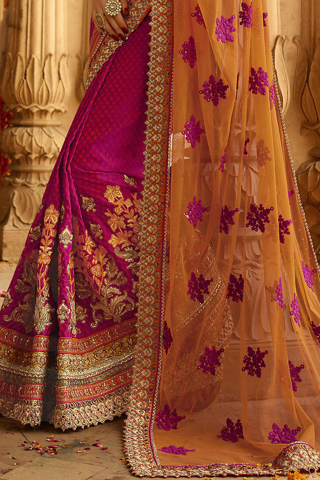 Buy Orange Magenta and Beige Silk Crepe Lehenga Style Saree Online at indi.fashion