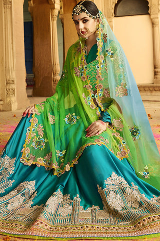 Indi Fashion Blue and Green Silk Crepe Lehenga Style Saree