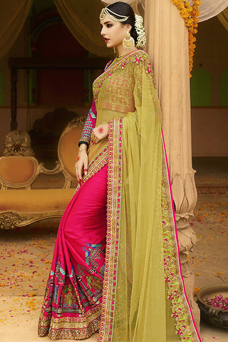 Indi Fashion Pink Mehandi and Magenta Silk Crepe Lehenga Style Saree