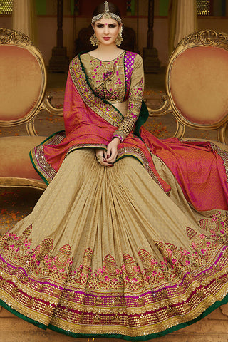 Indi Fashion Beige Orange and Purple Silk Crepe Lehenga Style Saree