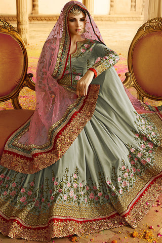 Indi Fashion Pastel Green and Pink Silk Crepe Lehenga Style Saree