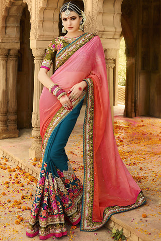 Indi Fashion Blue Green and Pink Ombre Silk Crepe Lehenga Style Saree