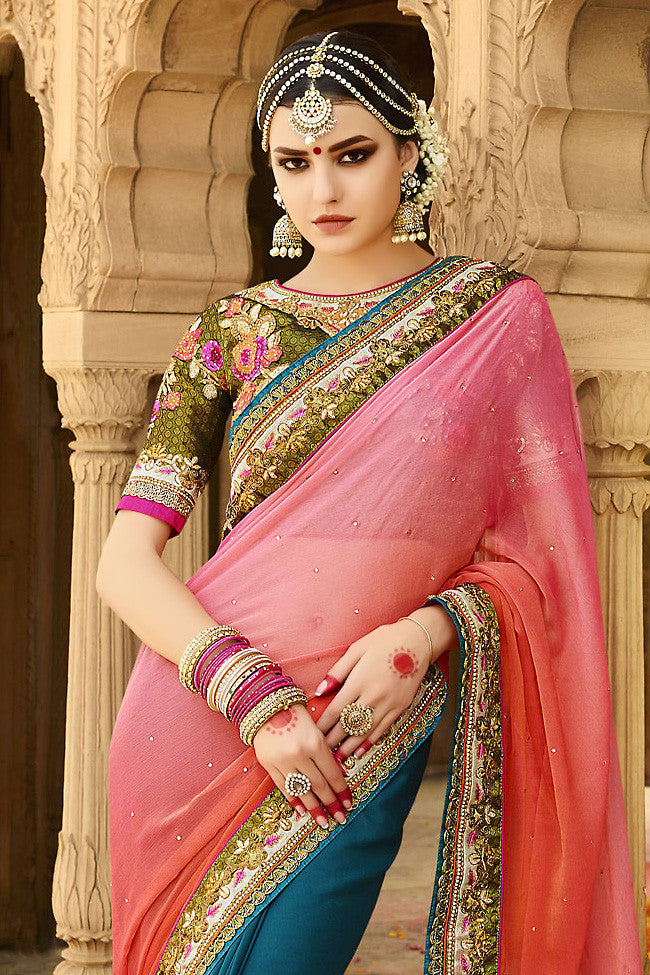Buy Blue Green and Pink Ombre Silk Crepe Lehenga Style Saree Online at indi.fashion