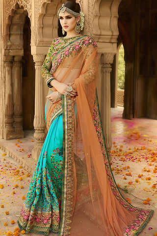 Indi Fashion Beige Sky Blue and Peach Silk Crepe Lehenga Style Saree
