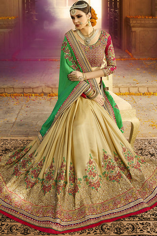 Indi Fashion Beige Green and Maroon Silk Crepe Lehenga Style Saree