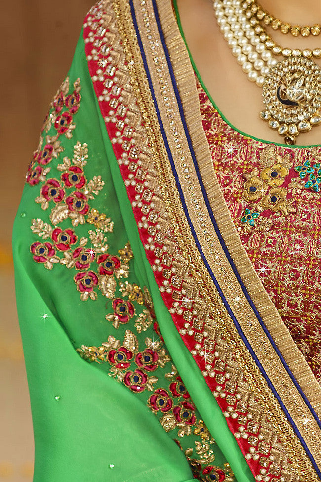 Buy Beige Green and Maroon Silk Crepe Lehenga Style Saree Online at indi.fashion