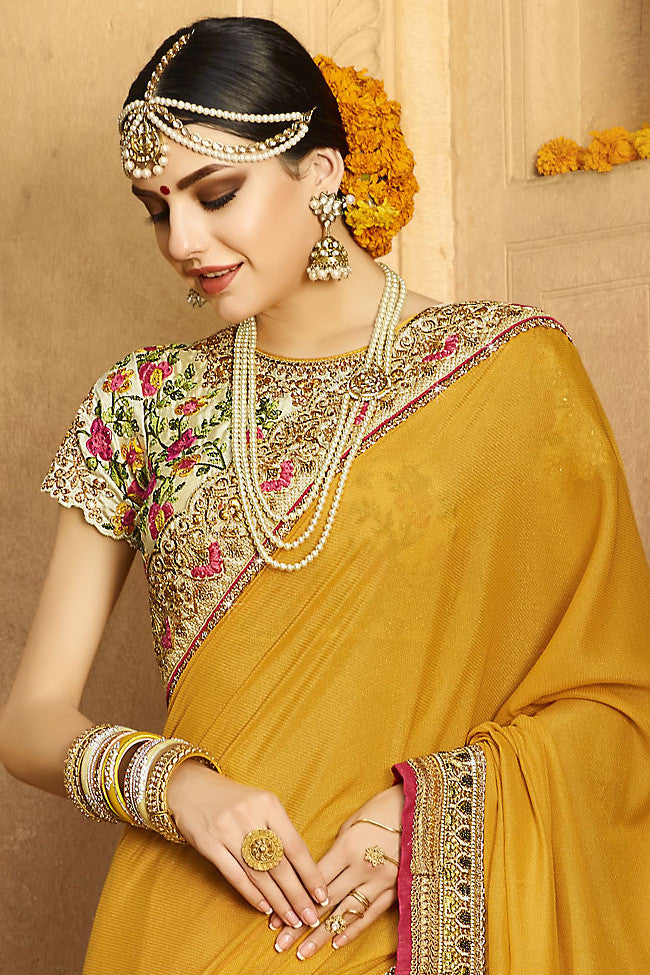 Buy Mustard Peach and Cream Silk Crepe Lehenga Style Saree Online at indi.fashion