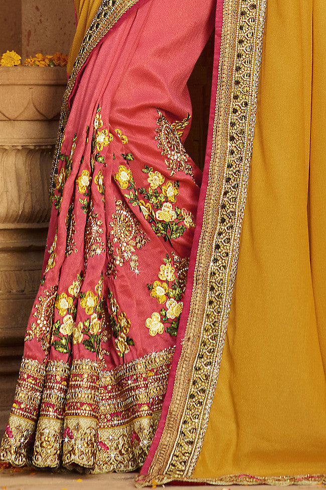 Indi Fashion Mustard Peach and Cream Silk Crepe Lehenga Style Saree