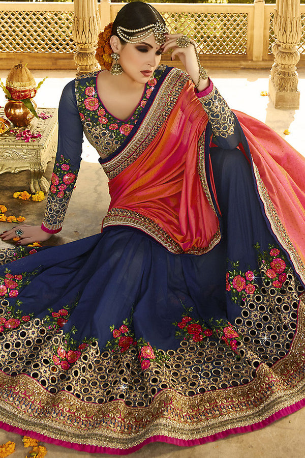 Indi Fashion Navy Blue and Pink Ombre Silk Crepe Lehenga Style Saree