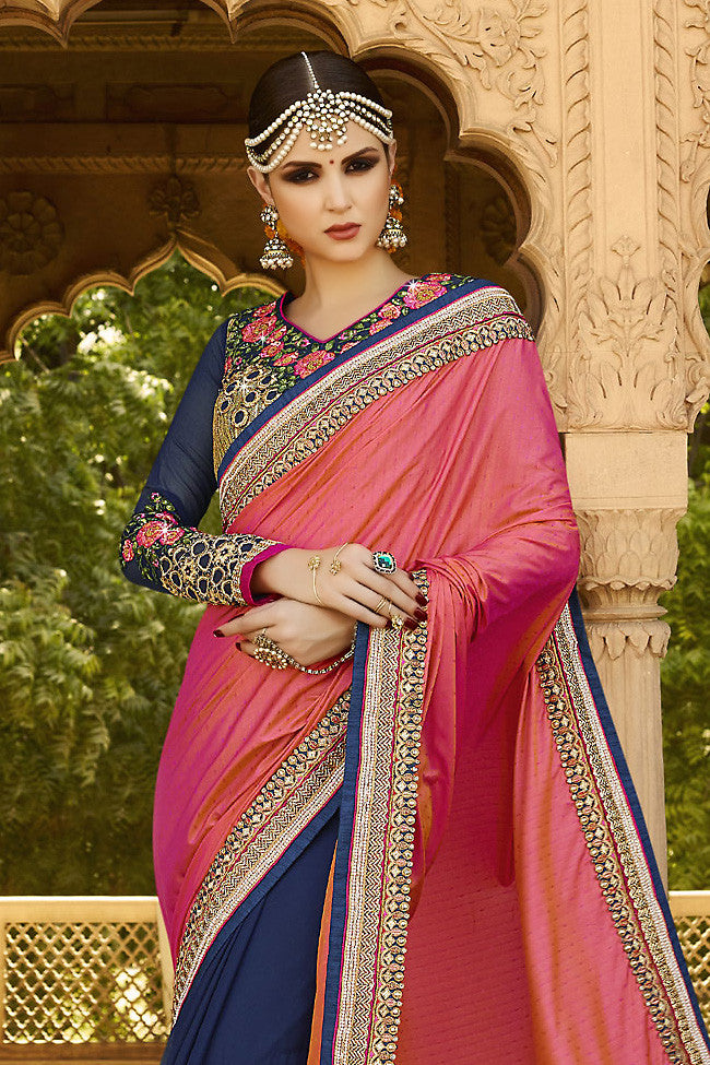 Buy Navy Blue and Pink Ombre Silk Crepe Lehenga Style Saree Online at indi.fashion