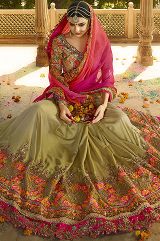 Indi Fashion Mehandi Beige and Pink Ombre Silk Crepe Lehenga Style Saree